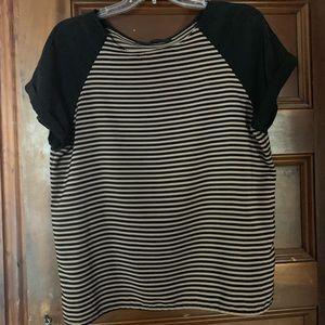 Zara black and gold matte horizontal striped shirt